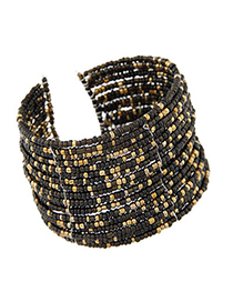 Special brown beads decorated multi-layer design alloy Fashion Bangles