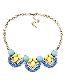Stylish blue gemstone decorated waterdrop shape design alloy Bib Necklaces