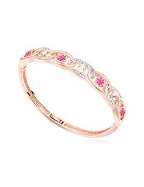 Etcetera plum red & rose gold diamond decorated interlocking design alloy Crystal Bracelets