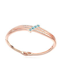 Novelty navy blue & rose gold diamond decorated simple design alloy Crystal Bracelets