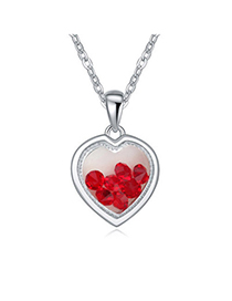Budget Light Red Diamond Decorated Heart Pendant Design Alloy Crystal Necklaces