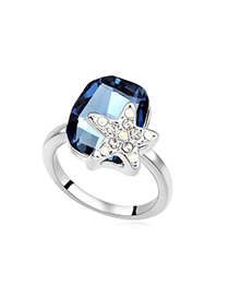 Hiphop Dark Blue Diamond Decorated Star Shape Design Alloy Crystal Rings