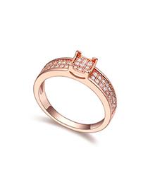 Oversized White & Rose Gold Diamond Decorated Square Shape Design Zircon Crystal Rings
