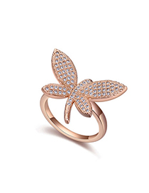 Urban White & Rose Gold Diamond Decorated Dragonfly Shape Design Zircon Crystal Rings