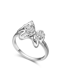 Crinkle White Diamond Decorated Butterfly Shape Design Zircon Crystal Rings