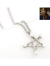 Extreme Silver Color Pearl Decorated Star Pendant Design Alloy Korean Necklaces