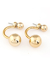Aamazing Gold Color Round Shape Simple Design Alloy Stud Earrings