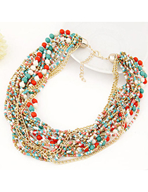 Roll Multicolor Beads Decorated Multilayer Design Alloy Beaded Necklaces