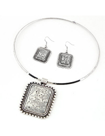 Homemade Silver Color Square Pendant Simple Design Alloy Jewelry Sets