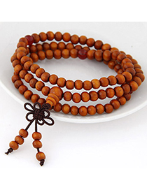Diy Orange Beads Decorated Multilayer Design Wood Korean Fashion Bracelet