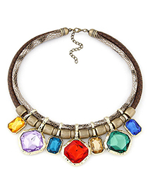 Toddler Multicolor Gemstone Decorated Simple Alloy Fashion Necklaces