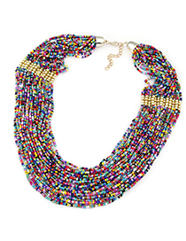 Health Multicolor Beads Decorated Multilayer Design Alloy Beaded Necklaces