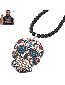 Invicta Multicolor Flower Pattern Skull Shape Pendant Design