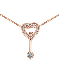 Down White & Rose Gold Diamond Decorated Heart Shape Pendant Design Alloy Crystal Necklaces
