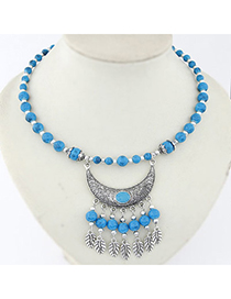 Mens Blue Beads Decorated Moon Tassel Design Alloy Bib Necklaces