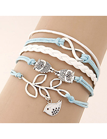 Mint Ligth Blue Owl Shape Decorated Multilayer Design