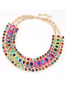 Tinsel Red Pearl Decorated Round Shape Multilayer Design Alloy Bib Necklaces