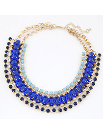 Lightest Blue Gemstone Decorated Multilayer Weave Design Alloy Korean Necklaces