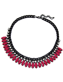 Magnifying Red Diamond Decorated Simple Design Alloy Bib Necklaces
