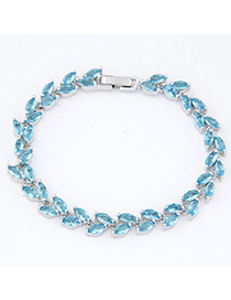 Roll Light Blue Gemstone Decorated Simple Design Alloy Crystal Bracelets
