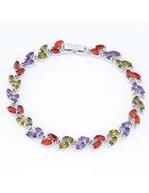 Ethnic Multicolor Gemstone Decorated Simple Design Alloy Crystal Bracelets