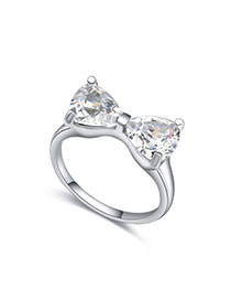 Oval White Bowknot Shape Decorated Simple Design Zircon Crystal Rings