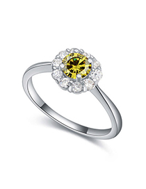 Noble Olive Diamond Decorated Flower Design Zircon Crystal Rings