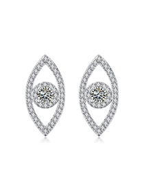 Upper White Diamond Decorated Oval Shape Design Zircon Crystal Earrings