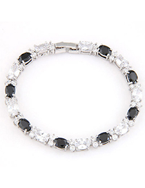 Charming Black & White Gemstone Decorated Simple Design Zircon Crystal Bracelets