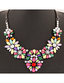 Hydraulic Multicolor Gemstone Decorated Flower Design Alloy Bib Necklaces