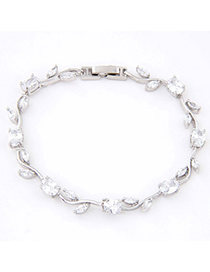 Simple White Diamond Decorated Leaf Shape Design Zircon Crystal Bracelets