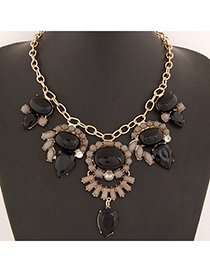 Costume Black Gemstone Decorated Waterdrop Shape Design Alloy Bib Necklaces
