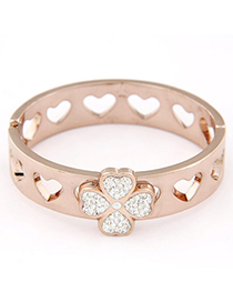 Peterbilt Rose Gold Clover Shape Decorated Simple Design Alloy Fashion Bangles