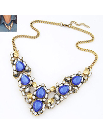 Urban Blue Diamond Decorated Waterdrop Shape Design Alloy Bib Necklaces