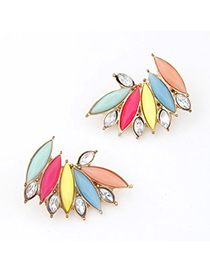 Players Multicolor Gemstone Decorated Leaf Shape Design Alloy Stud Earrings