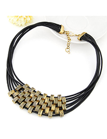 Heather Gold Color Multilayer Simple Design Alloy Korean Necklaces