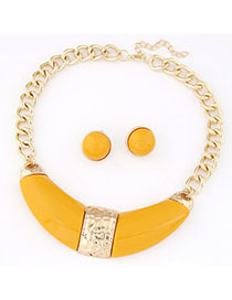 Engraved Yellow Gemstone Decorated Simple Design Alloy Jewelry Sets