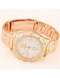 Waist Rose Gold Diamond Decorated Simple Design Alloy Men's Watches