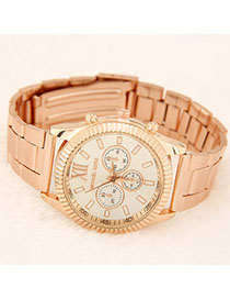 Cargo Rose Gold Diamond Decorated Simple Design Alloy Men's Watches