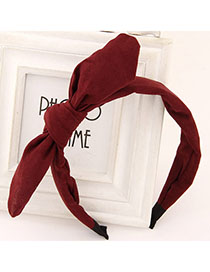 Roller Claret-red Pure Color Bowknot Shape Simple Design Fabric Hair Band Hair Hoop