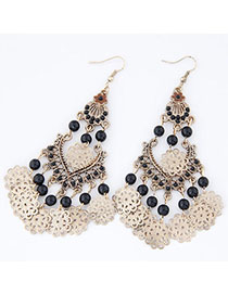 Maturnity Black Beads Decorated Tassel Design Alloy Korean Earrings