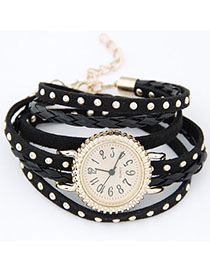 Luxury Black Rivet Decorated Multilayer Design Alloy Ladies Watches