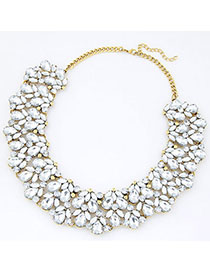 Clutch White Diamond Decorated Waterdrop Shape Design Alloy Bib Necklaces