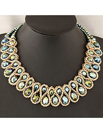 Elastic Champagne Blue Double Layer Weave Design Alloy Bib Necklaces