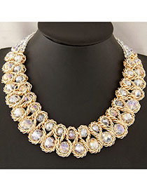Tattoo White Double Layer Weave Design Alloy Bib Necklaces
