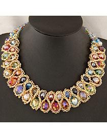 Softshell Multicolor Double Layer Weave Design Alloy Bib Necklaces