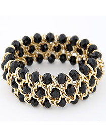Memorable Black Multilayer Weave Design Alloy Fashion Bangles
