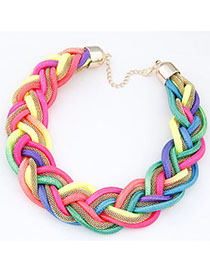 Current Multicolor Metal Decorated Weave Design Alloy Bib Necklaces