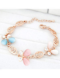 Royal Multicolor Diamond Decorated Butterfly Design Alloy Korean Fashion Bracelet
