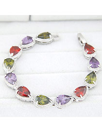 Acrylic Multicolor Waterdrop Shape Decorated Simple Design Zircon Fashion Bracelets